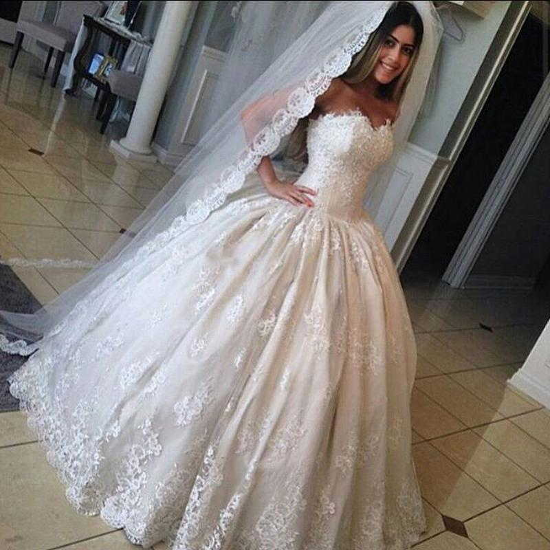 Real image cheap lace 2016 wedding dresses sweetheart a for Wedding dress discount warehouse