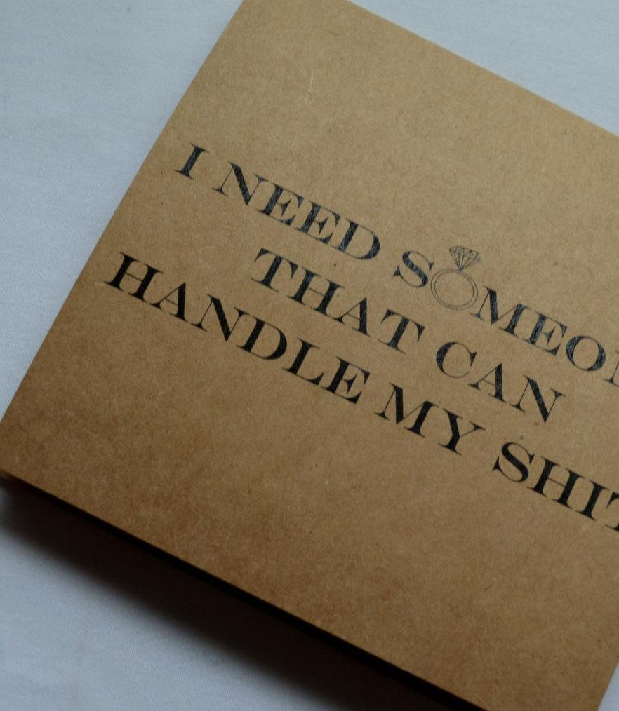 Свадьба - HANDLE MY shit MAID of honor card someone to handle my shit funny sarcastic bridesmaid card funny bridal proposal card kraft card funny card