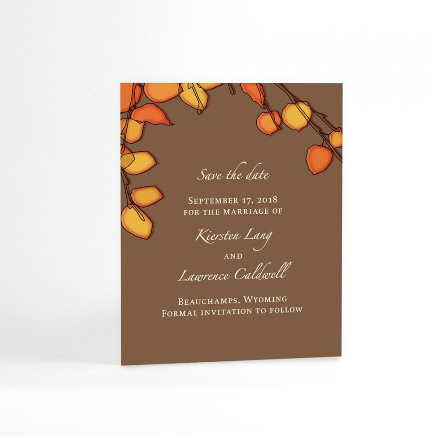 Mariage - Orange Autumn Tree Leaves Save The Date Cards for Fall Wedding, Autumn Wedding Announcements. Custom Colors for Your Chosen Season