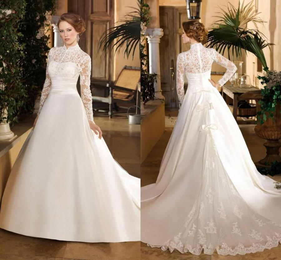 269a88703e48 Vintage A-Line Wedding Dresses High Neck 2016 Court Train Ivory Satin Bow  Zipper Lace Applique Button Long Sleeve Bridal Ball Gowns Online with ...
