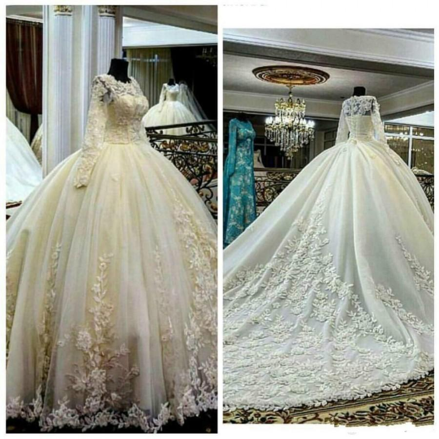 2016 ball gown wedding dresses with long sleeves sheer for High low ball gown wedding dress