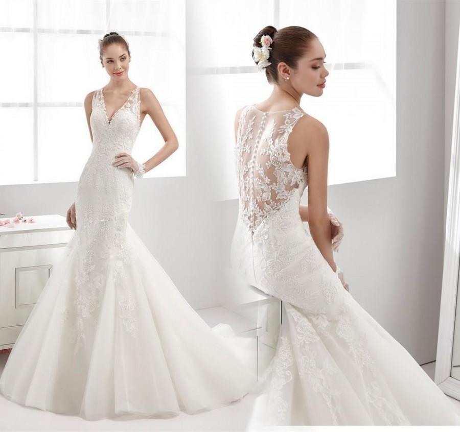 Lace Mermaid Wedding Gown With Tulle Skirt: Stunning White Mermaid Wedding Dresses With Applique Lace