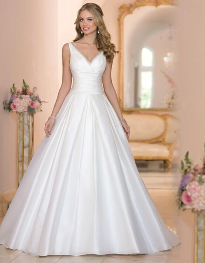 Designer New 2016 White Wedding Dresses V Neck Satin Cheap Chapel Train A Line Sleeveless Bridal Gowns Dress Custom Made Online With 10603 Piece On