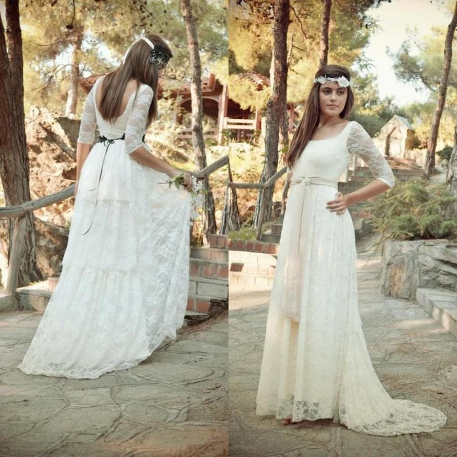 Spring Half Sleeve Wedding Dresses Illusion 2016 Sheer Lace Corset ...