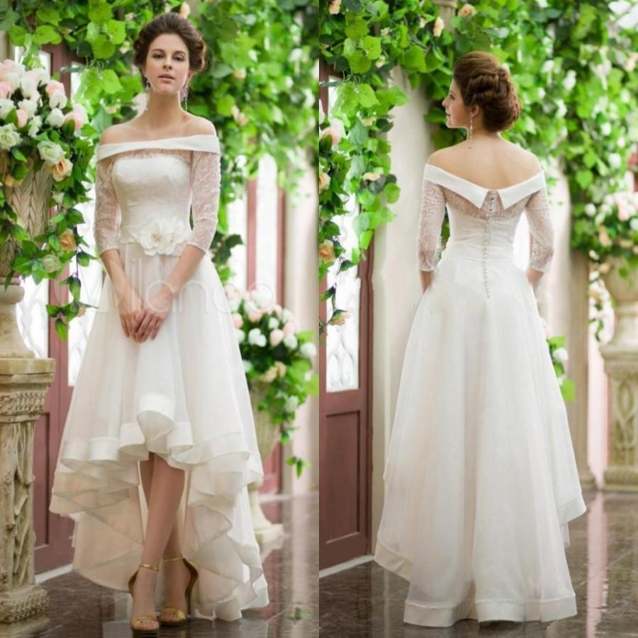 Wedding - Fashion 3/4 Sleeve High Low Wedding Dresses Lace Ball Long Off Shoulder Spring Beach Garden Bridal Gowns 2016 Covered Buttons Online with $105.24/Piece on Hjklp88's Store