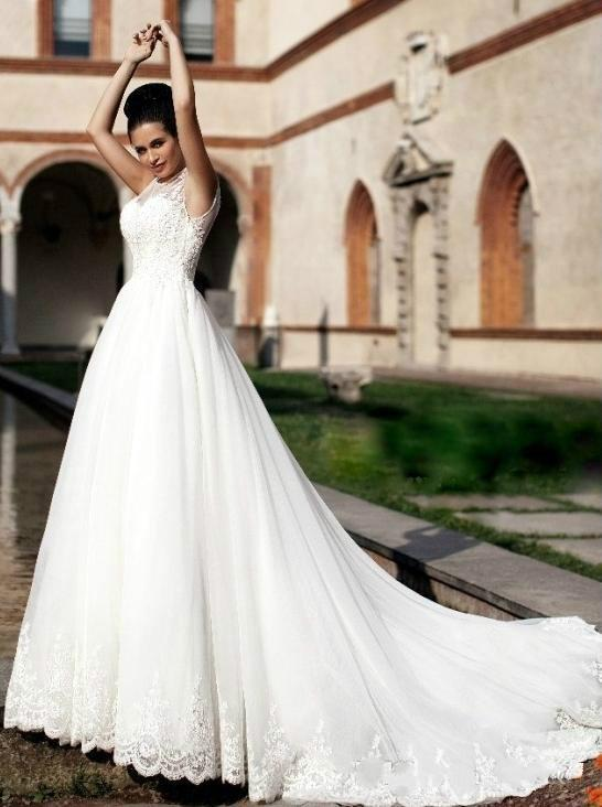 Romantic african wedding dresses sheer neck a line white for African white wedding dresses