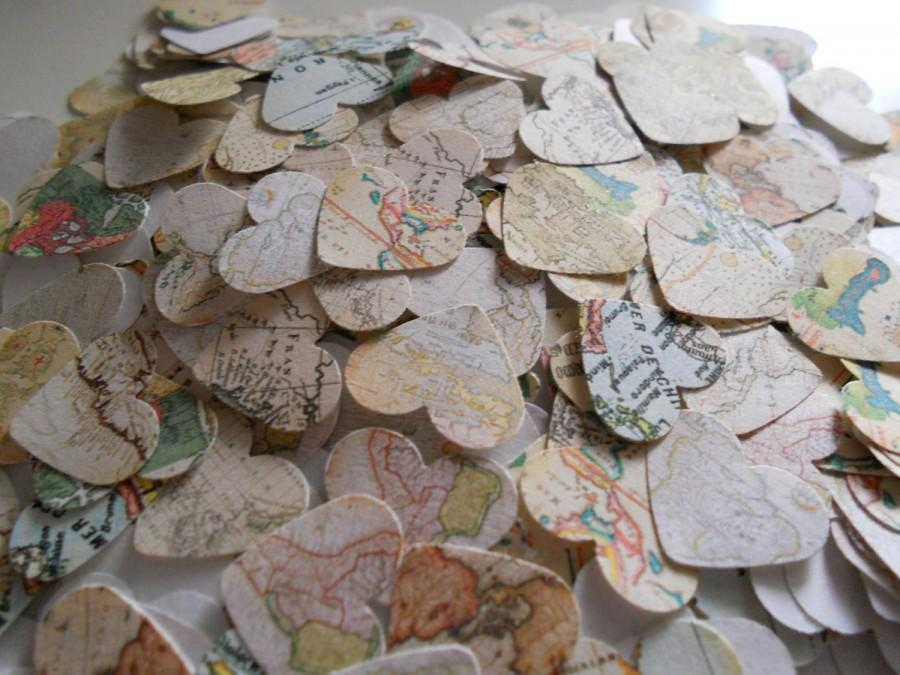Hochzeit - 1000 World Map Paper Confetti for Weddings and Parties