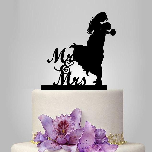 Boda - bride and groom silhouette wedding cake topper, monogram cake topper, funny cake topper,gold  wedding cake decoration, custom cake topper