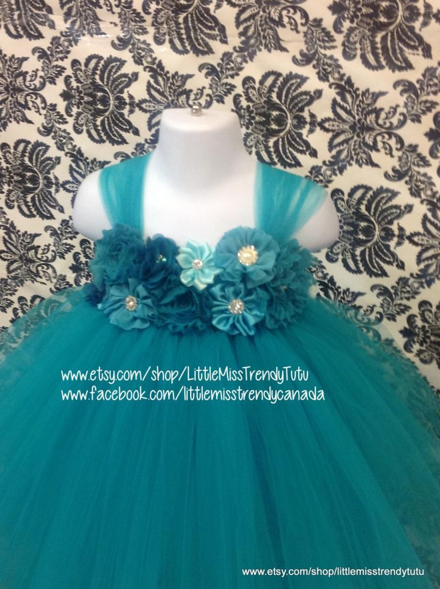 Teal Flower Girl Dress, Teal Tutu Dress, Dark Turquoise Tutu Dress ...