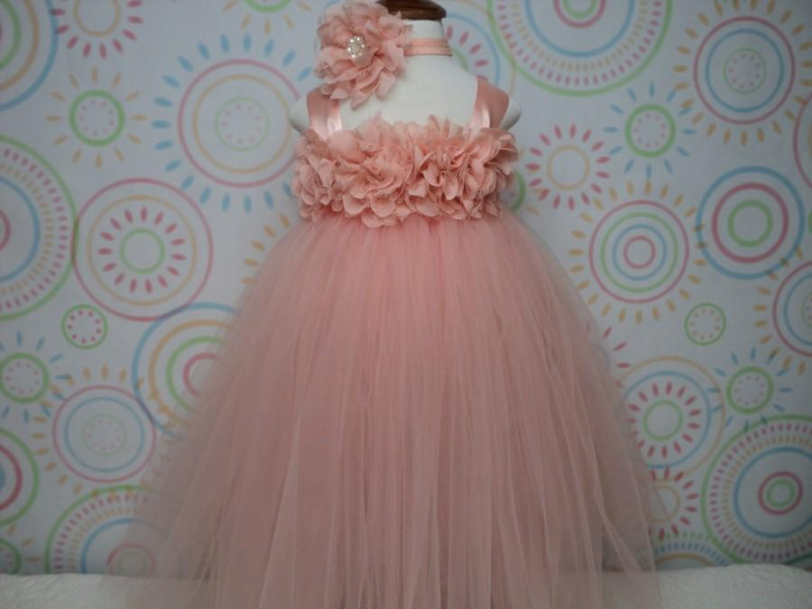 Wedding - READY TO SHIP for baby up to 2T 3T toddler flower girl peach blush tutu dress and headband wedding cake smash pageant birthday  photo prop