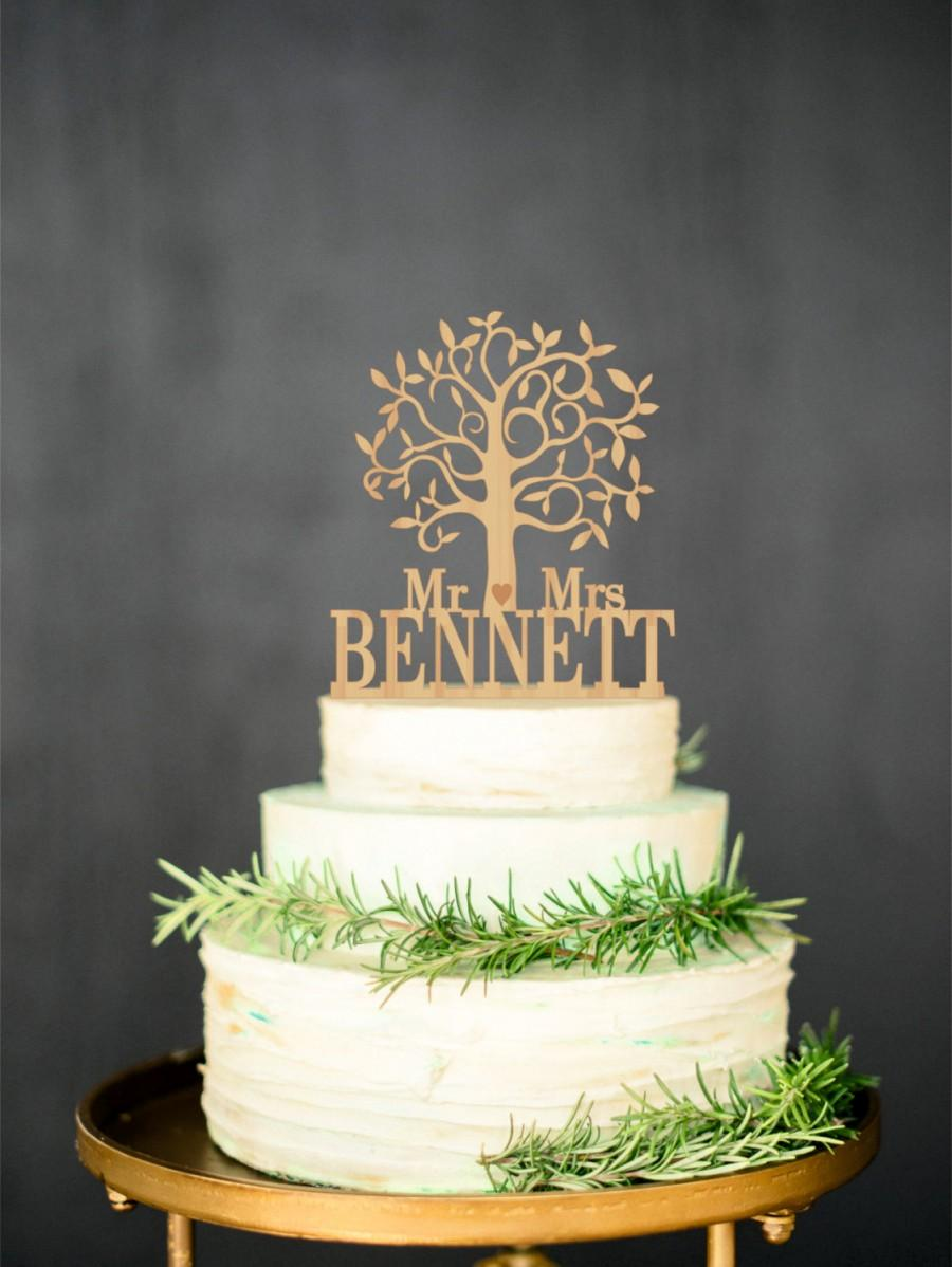 Hochzeit - Wooden cake topper Mr Mrs Rustic Cake Topper Personalized Tree Wedding topper