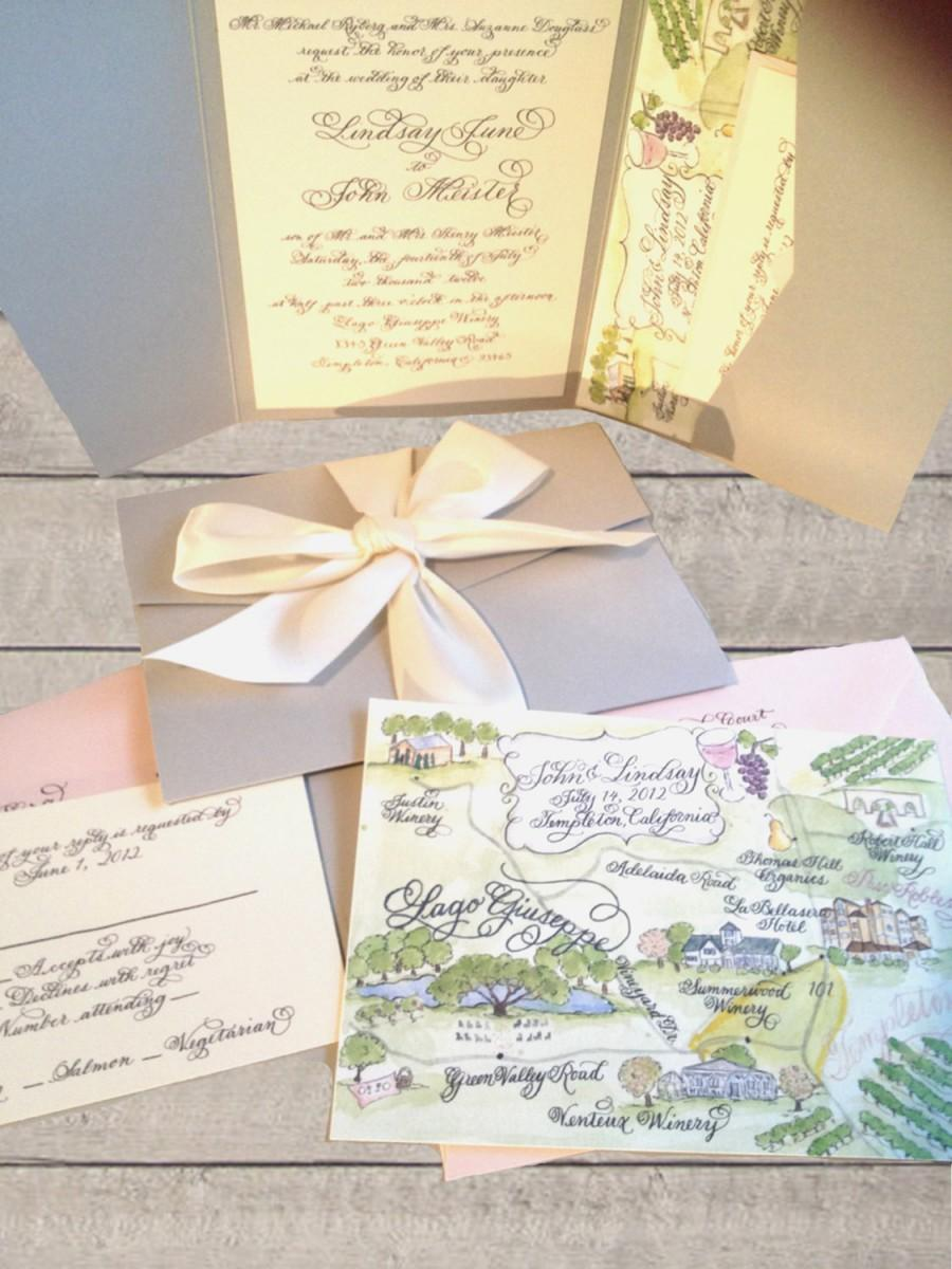 "Mariage - Wedding Invitation with custom calligraphy in pocketfold gray and pink elegance Love No. 5, ""Hartfield"""