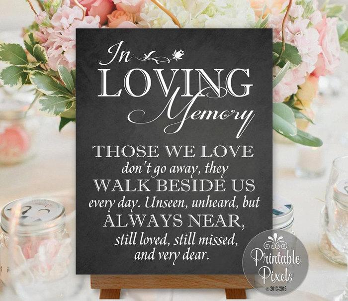 Hochzeit - In Loving Memory In Honor Remembrance Chalkboard Printable Wedding Sign Memory Table Instant Download (#MEM2C)