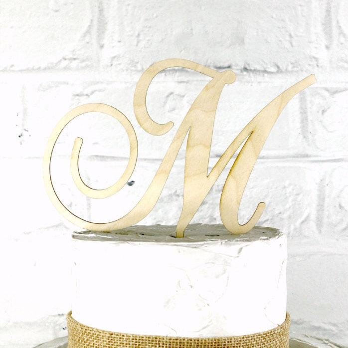 Свадьба - 5 Inch Rustic Wedding Cake Topper Monogram Personalized in Any Letter A B C D E F G H I J K L M N O P Q R S T U V W X Y Z