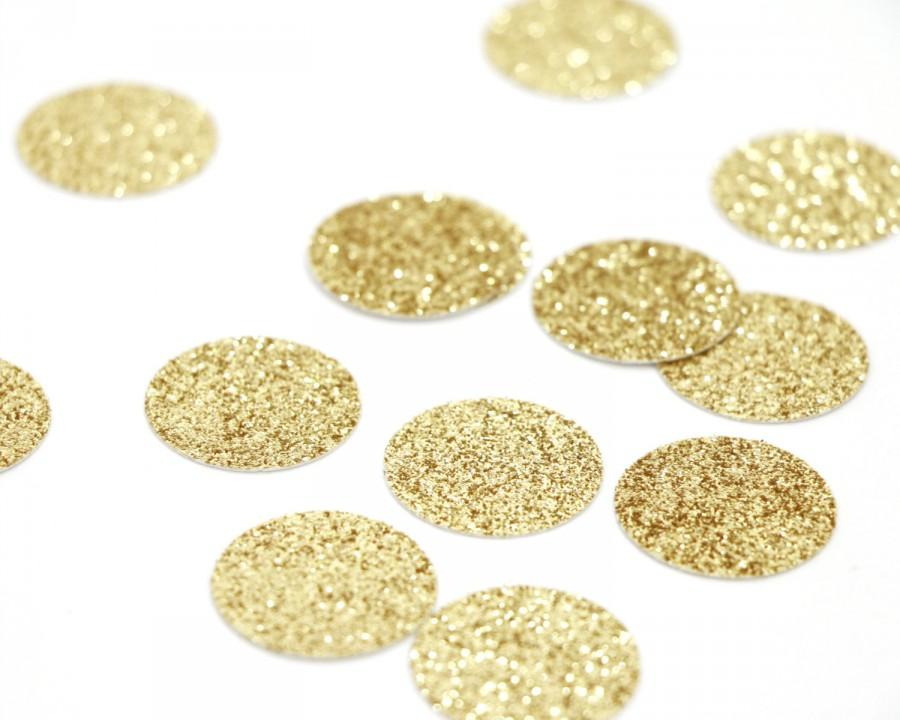 "Mariage - 100 Gold Glitter Circle Confetti - 1""  Gold Confetti. Wedding. Bachelorette Party. Bridal Shower. Baby Shower. Engagement. First Birthday."