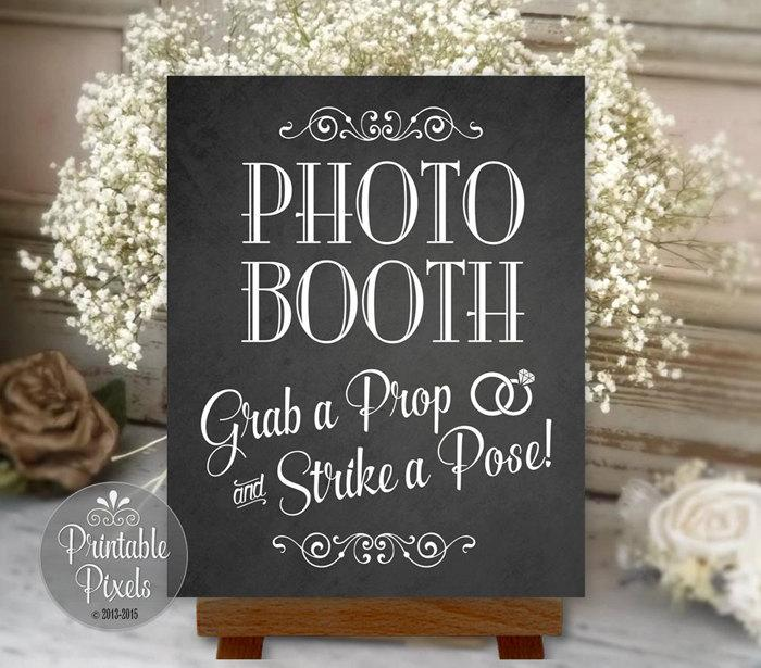 Photo Booth Sign Chalkboard Printable Wedding Party Instant