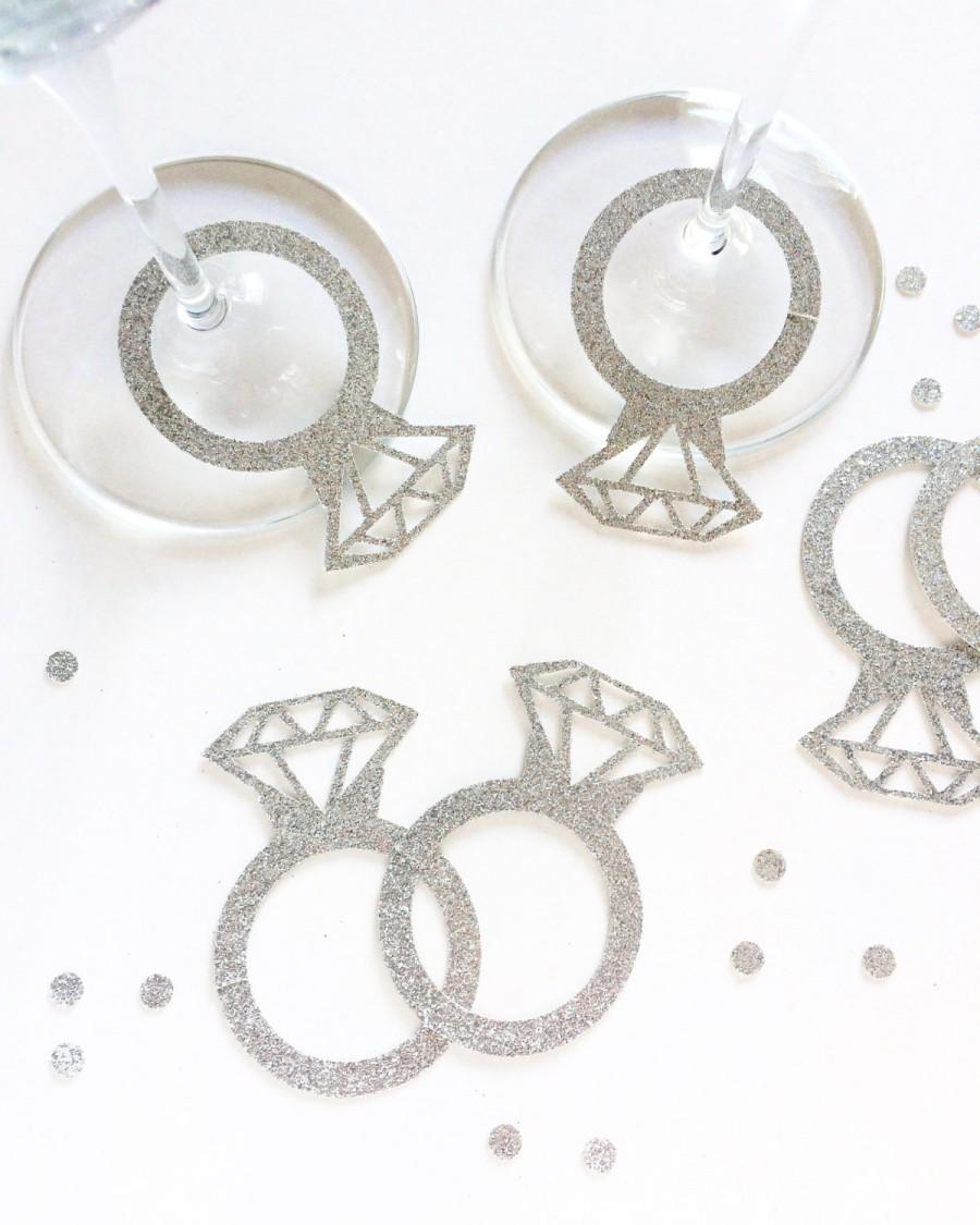 diamond wine glass tags sets of 20 or 40 engagement party decoration bridal shower decorations wine glass diamond rings