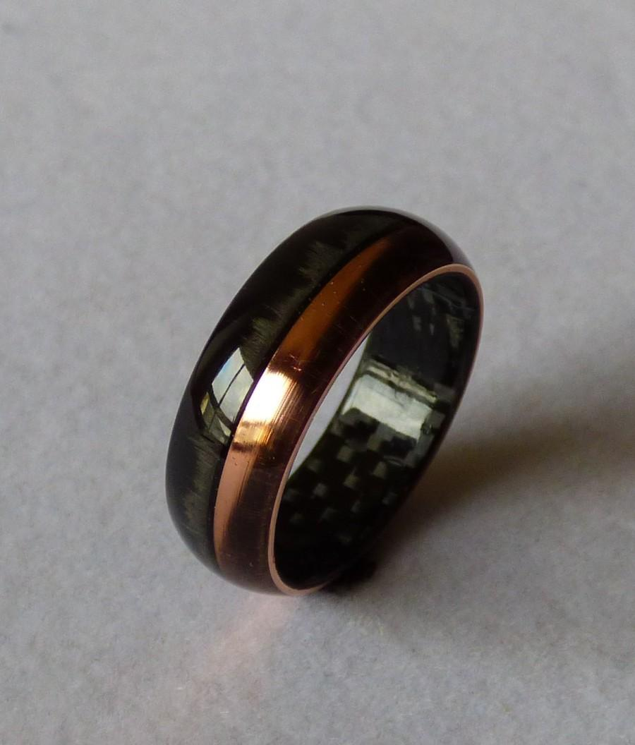 carbonfiber copper ring wedding band - Carbon Fiber Wedding Rings