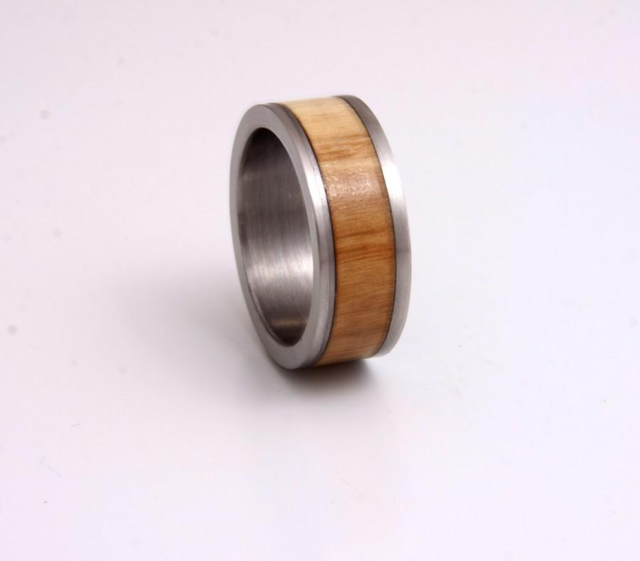 Mariage - titanium and wood ring with olivewood wedding band