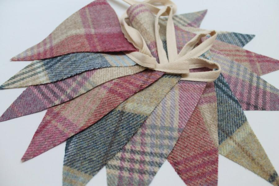 Свадьба - Tweed Fabric Bunting - 3 Colour Mix of Lilac, Pink & Blue Flags in 2.5m, 3.5m or 4.5m Lengths
