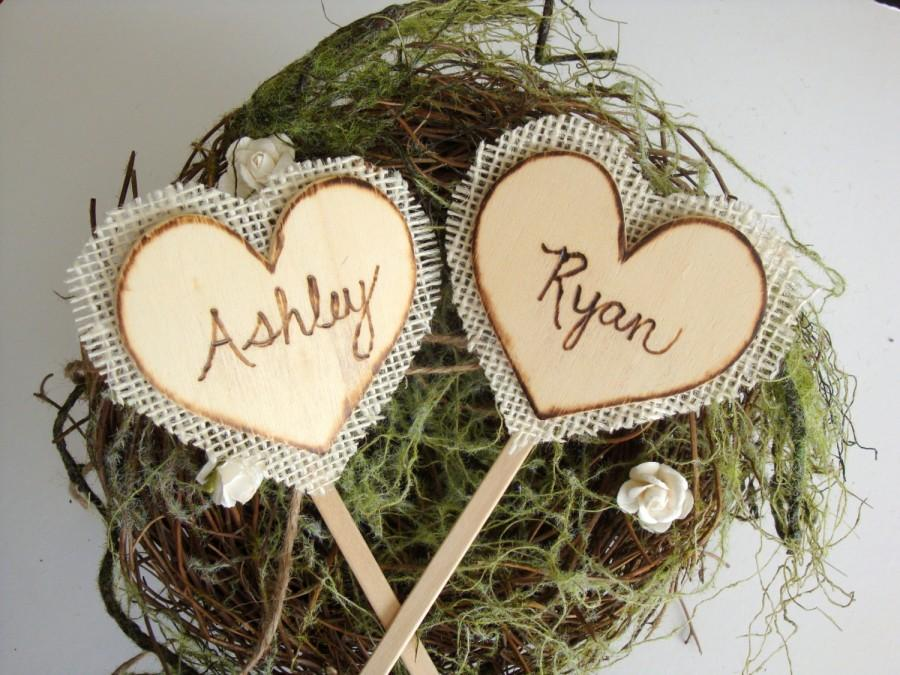 Hochzeit - Rustic cake toppers, backed with burlap, wood burned names, custom, personalized wedding