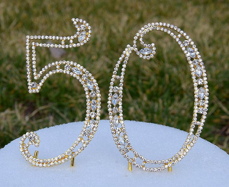 """Mariage - New 5"""" Gold Crystal Bling Rhinestone NUMBER (50) Cake Topper 50th Birthday Parties Anniversary Free US Shipping CT501"""