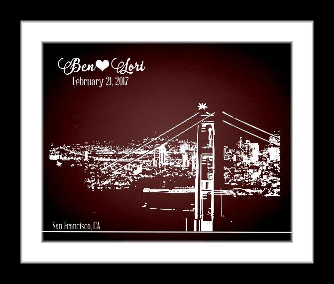 Hochzeit - San Francisco Wedding Skyline Art Gift: Personalized ANY Cityscape Area San Fran CA Unique Custom Wedding Present Gift For Him Print Sign