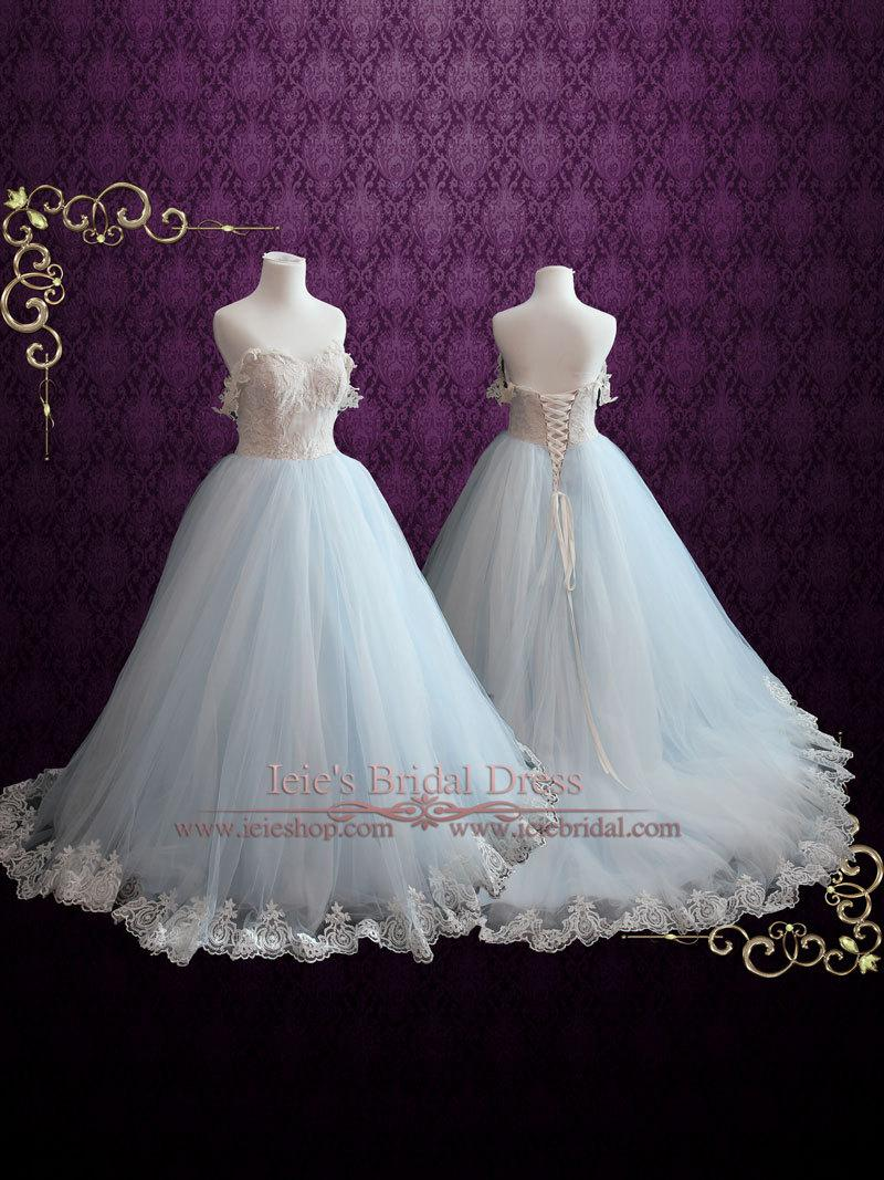 Wedding - Light Blue Wedding Dress With Lace Bodice