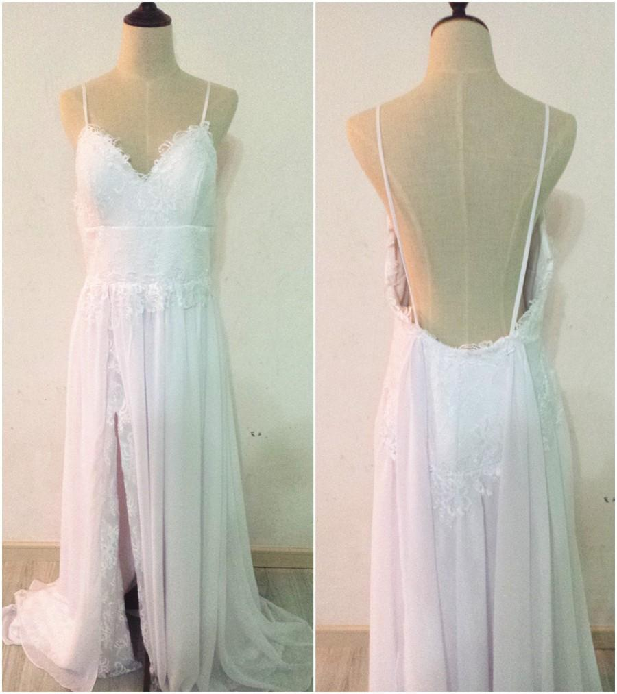 Свадьба - Spaghetti Straps V-neck Chiffon and Lace Boho Wedding Dress Backless Side Slit Beach Bridal Gown W054