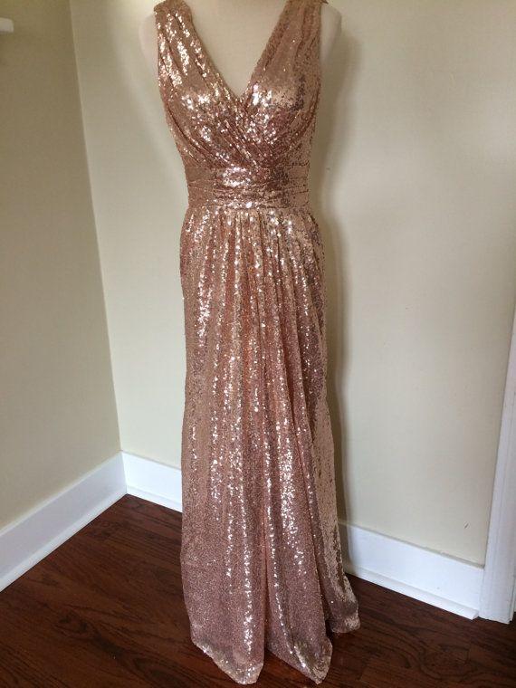 Christina S Bridesmaids Rose Gold Pink Champagne Luxury Sequin V Neck Backless Full Length Long Dress 2478909 Weddbook