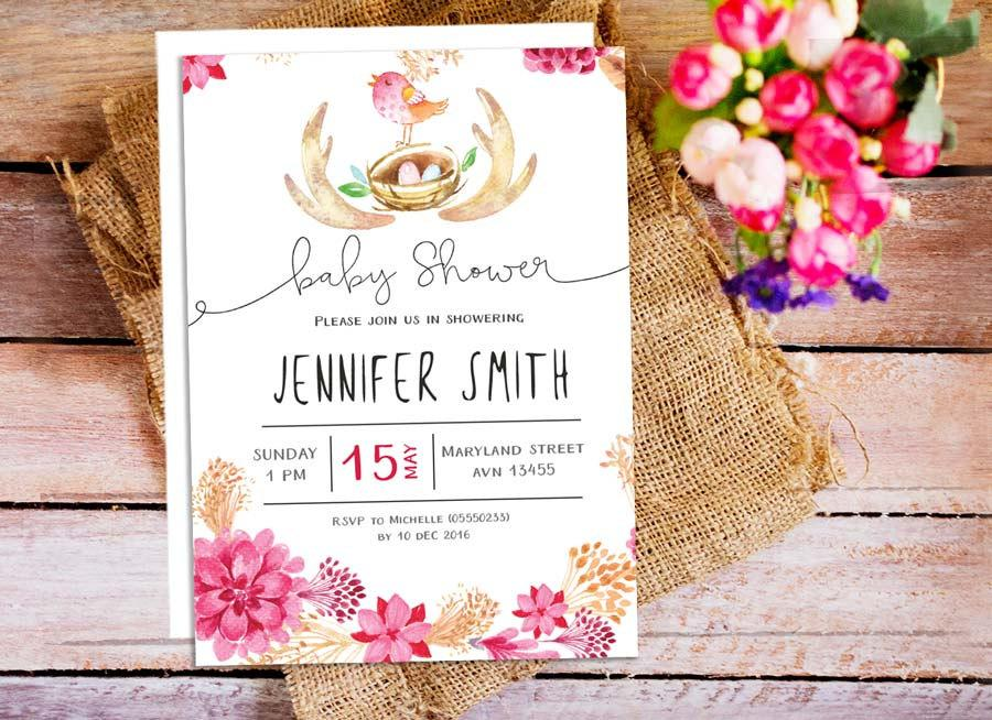 woodland bird baby shower invitation, floral baby shower, Baby shower