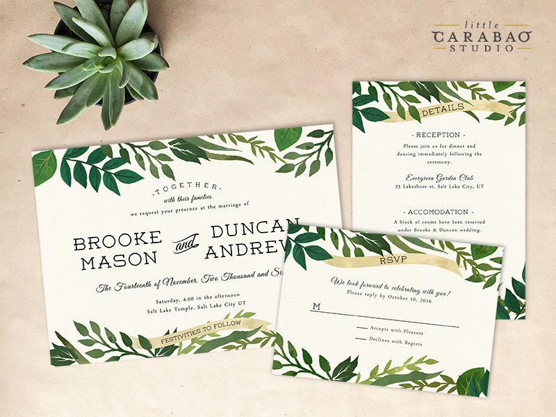 DIGITAL Wedding Invitation Set PRINTABLE Botanical Wedding