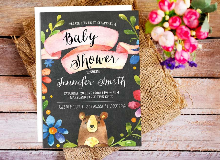 Woodland Bear Baby Shower Invitation Kids Birthday Party Chalkboard Printable Invitations