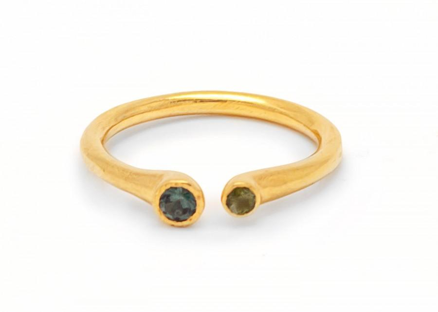 Mariage - Emerald and Gold Ring - Dainty Gold Ring - Engagement Ring - Gift for Her