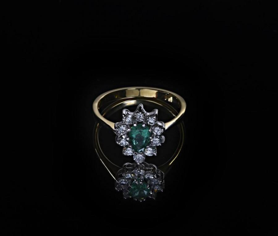 Natural Emerald Engagement Ring Diamond With Vintage Yellow Gold Pear