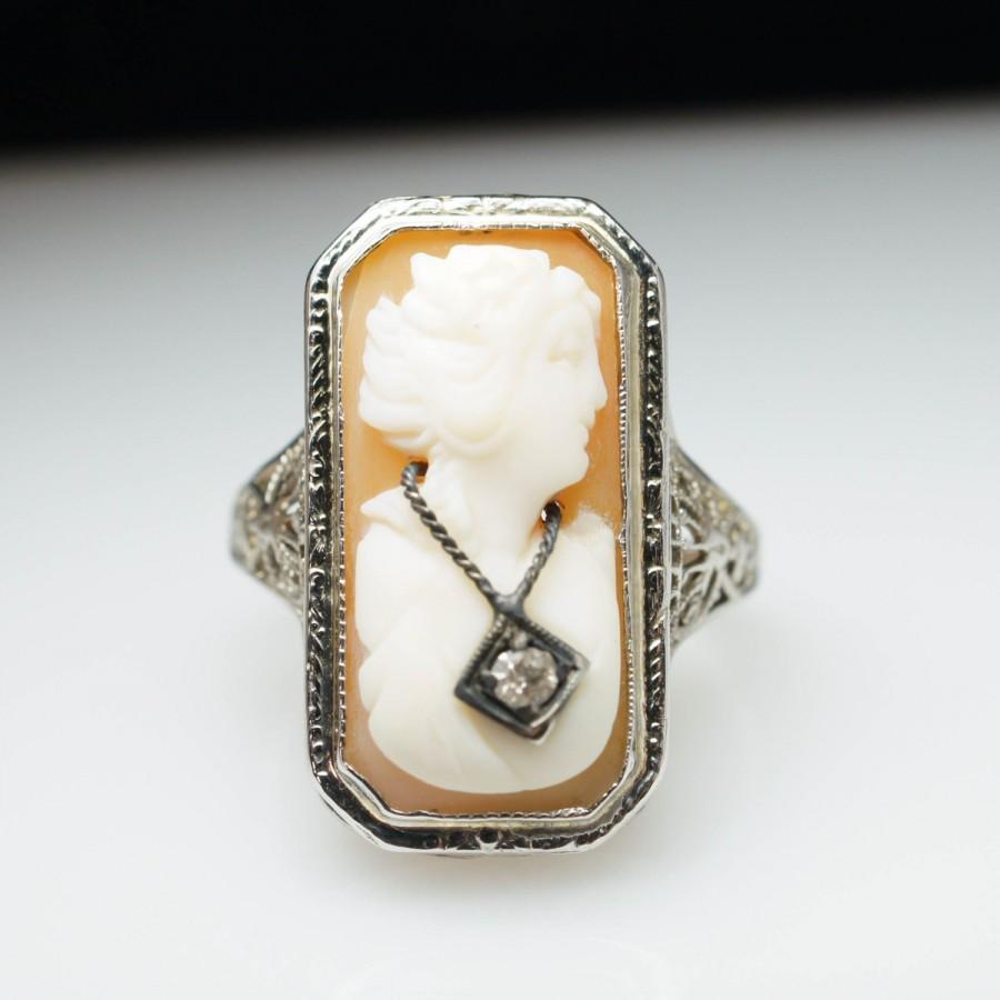 Mariage - Vintage Antique Late Edwardian Diamond Shell Cameo Ring 14k White Gold - Size 6 - Free Sizing