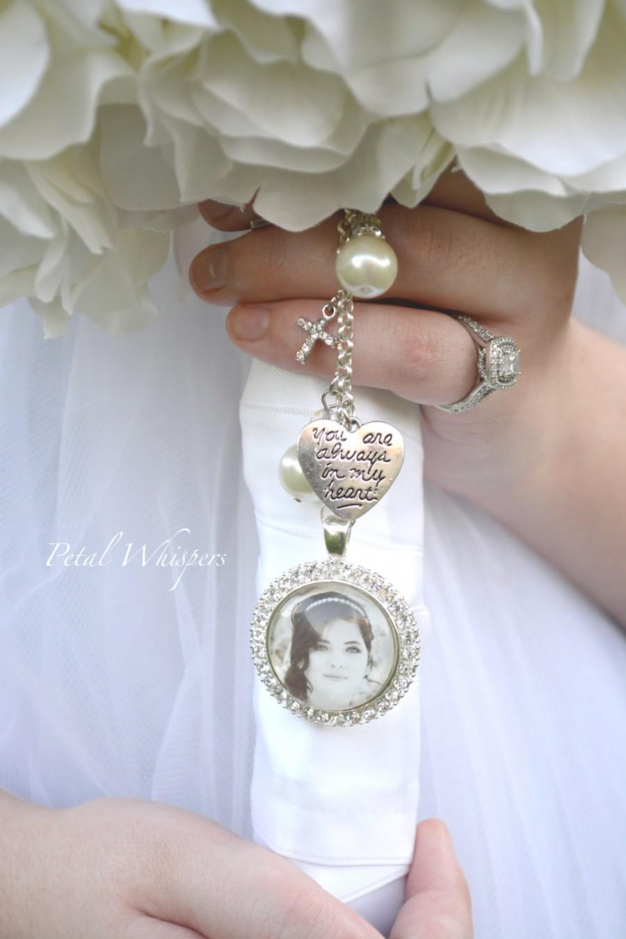 Wedding - Bouquet Photo Charm -  Bridal Bouquet Charm - Bride Photo Charm - Bridal Gift -  Bridal Accessories - Wedding Photo Charm - Gift For Bride -