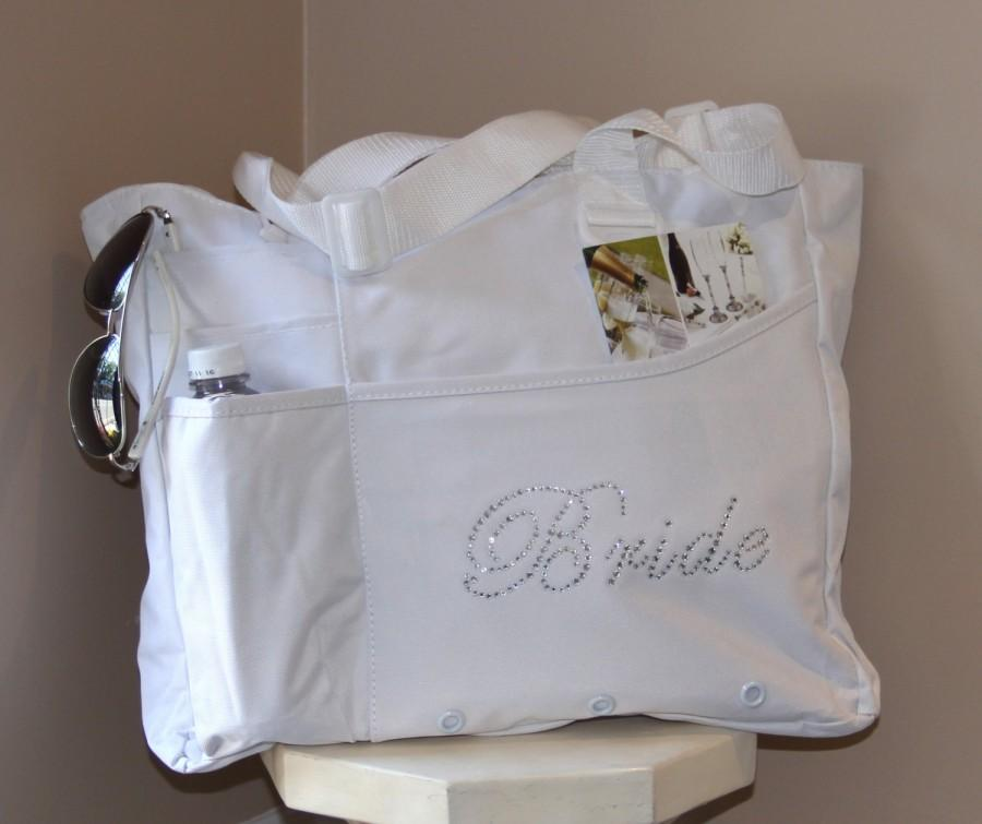 Mariage - Bride  Bag:  Rhinestone Zippered Heavy Tote Bag, daily use Bag  Bridal Shower Gift, Bachelorette Party, Engagement, Carryall, Tote Bag