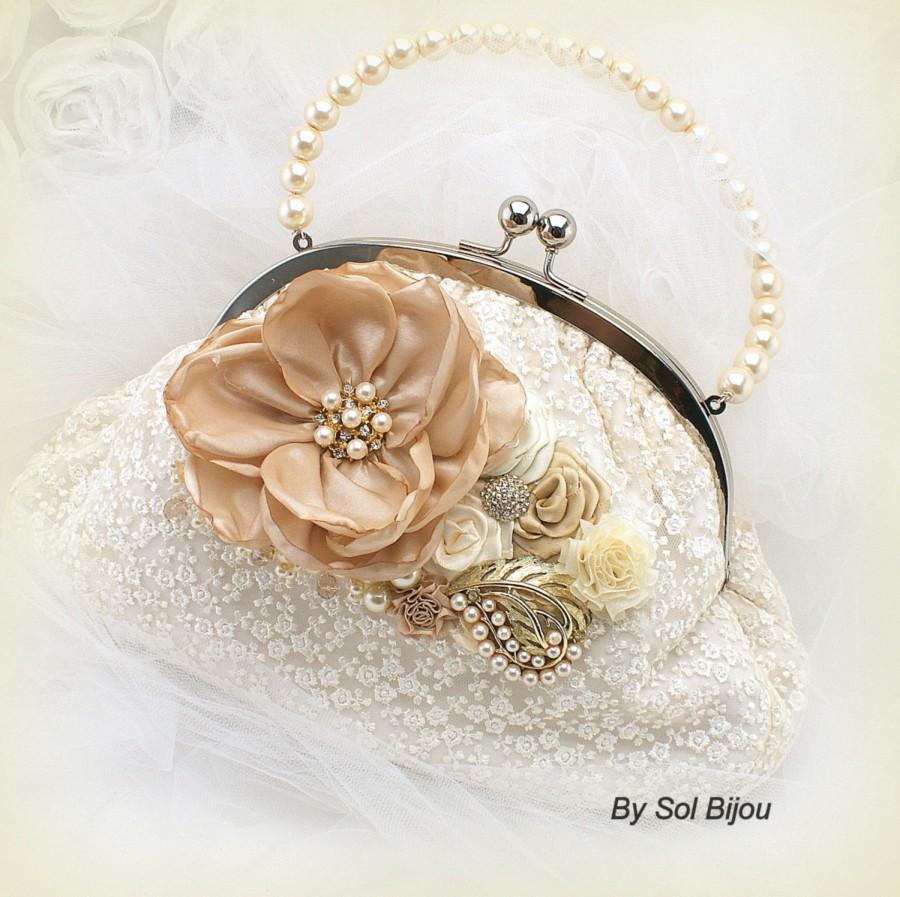 Mariage - Purse, Ivory, Gold, Champagne, Tan, Handbag, Elegant Wedding, Lace Purse,Vintage Style, Pearls, Crystals, Gold Brooch, Gatsby