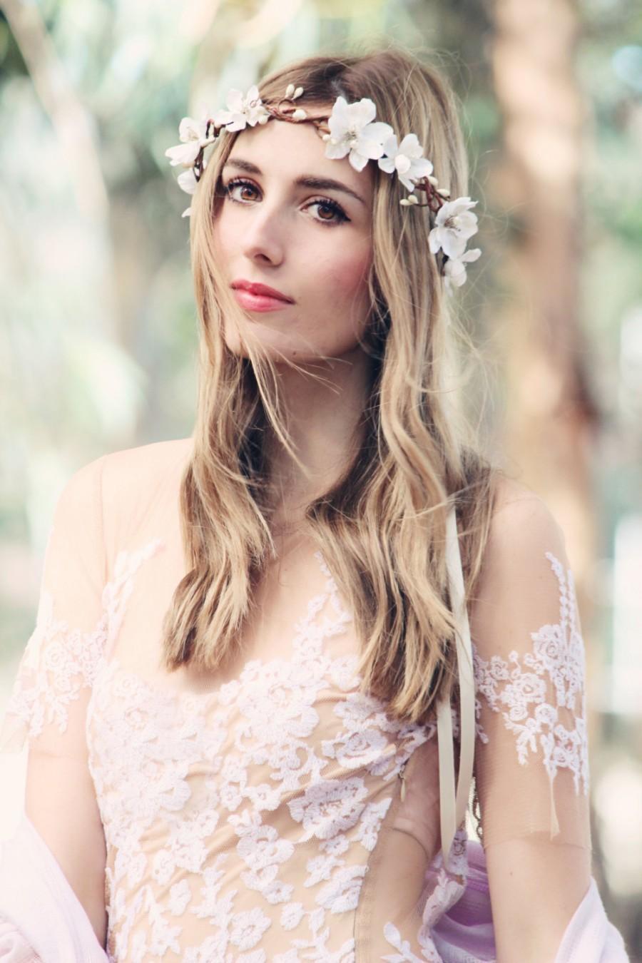 Ivory Boho Wedding Wreath Cream Bridal Flower Crown Headband Headpiece Accessories