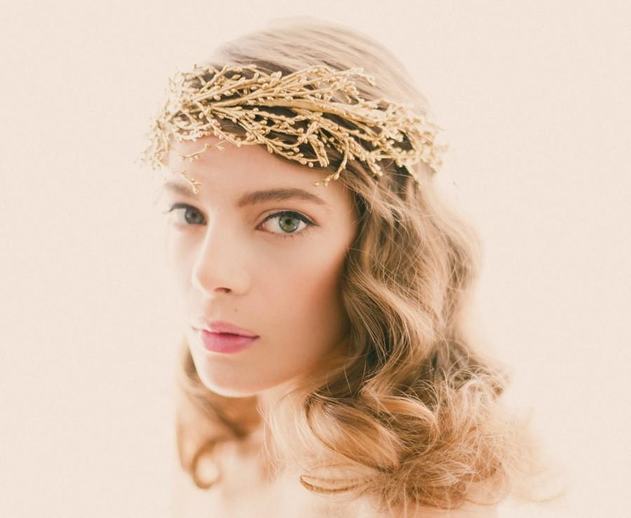 Mariage - Golden bridal headpiece, Silver branches, Gold wedding crown, Bridal head piece, Wire branch headdress, Golden woodland crown - SOLSTICE