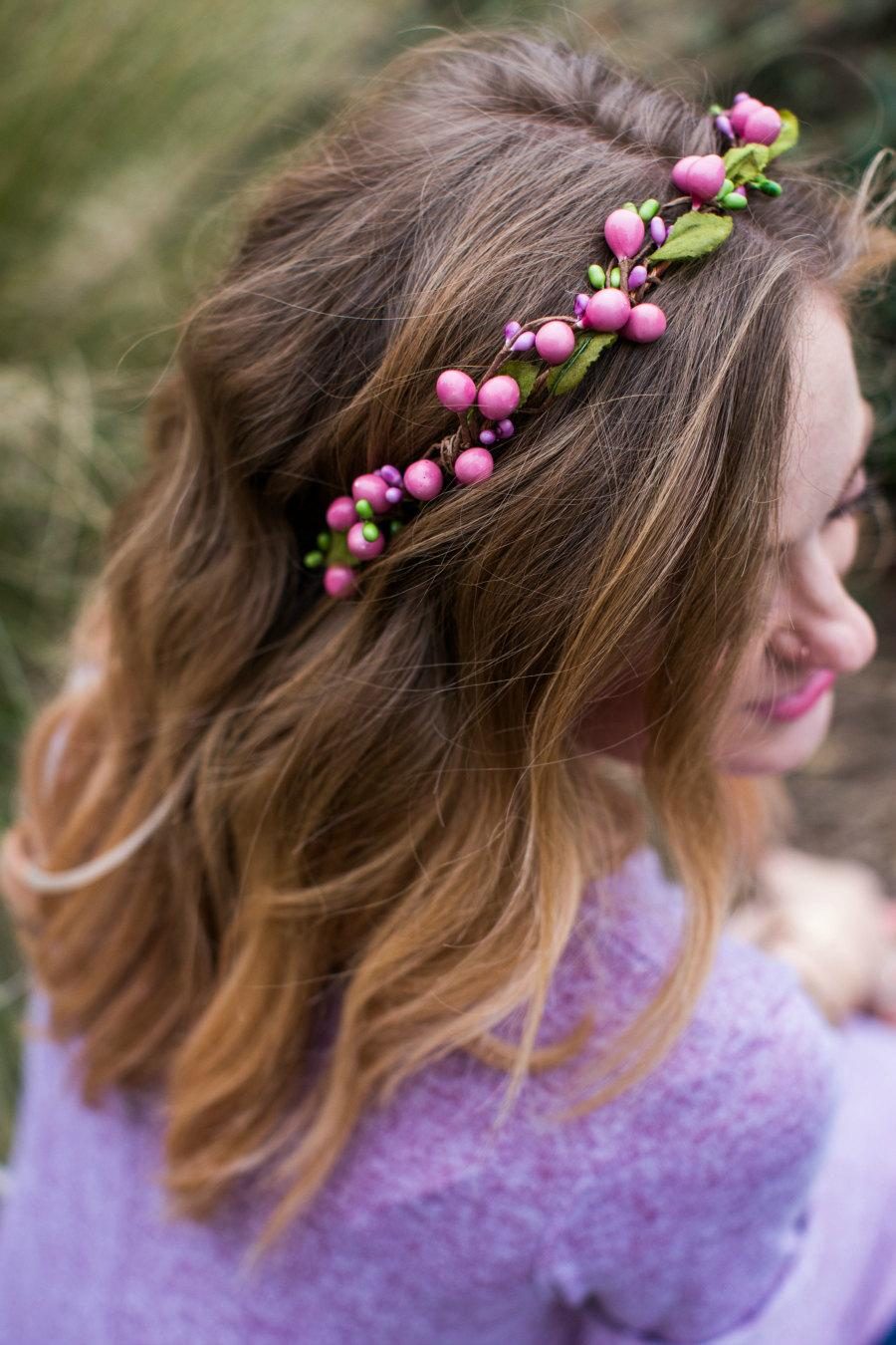 زفاف - Pink Floral Circlet, Berries Crown, Spring, Summer, Wedding, Bridesmaids, Headpiece, flower Girl, bridal hair, festival, bridal crown