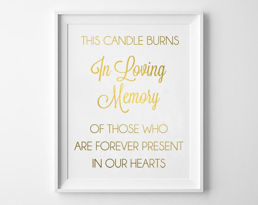 In loving memory of wedding signs this candle burns in for In loving memory wedding sign