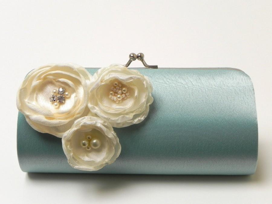 Mariage - Bridesmaid Clutch Bridal Clutch in Dusty Aqua Seafoam - Ivory Flower Blossoms with Rhinestones - Something Blue