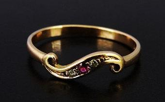 Wedding - Victorian Style Vintage Ladies Ruby and Diamond Trilogy Scroll Engagement Ring in 9ct Yellow Gold FREE POSTAGE