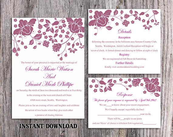 Hochzeit - DIY Wedding Invitation Template Set Editable Word File Instant Download Printable Invitation Eggplant Wedding Invitations Flower Invitation