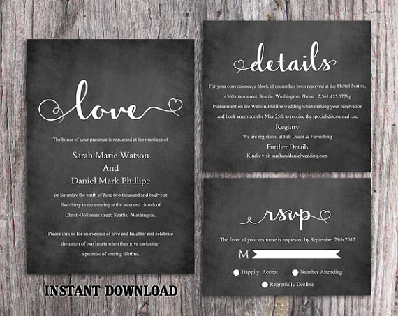 Diy Wedding Invitation Template Set Editable Word File Download