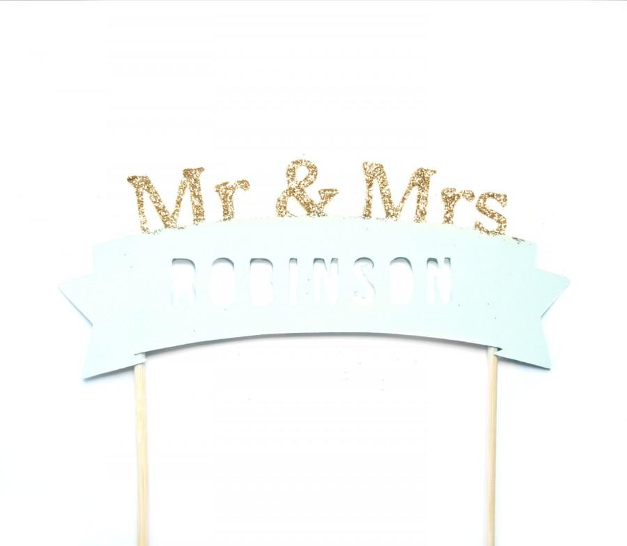 Mariage - Custom MR & MRS, Mint Green and Gold Cake Topper - Cake Bunting, wedding, engagement, birthday, baby shower, tea party