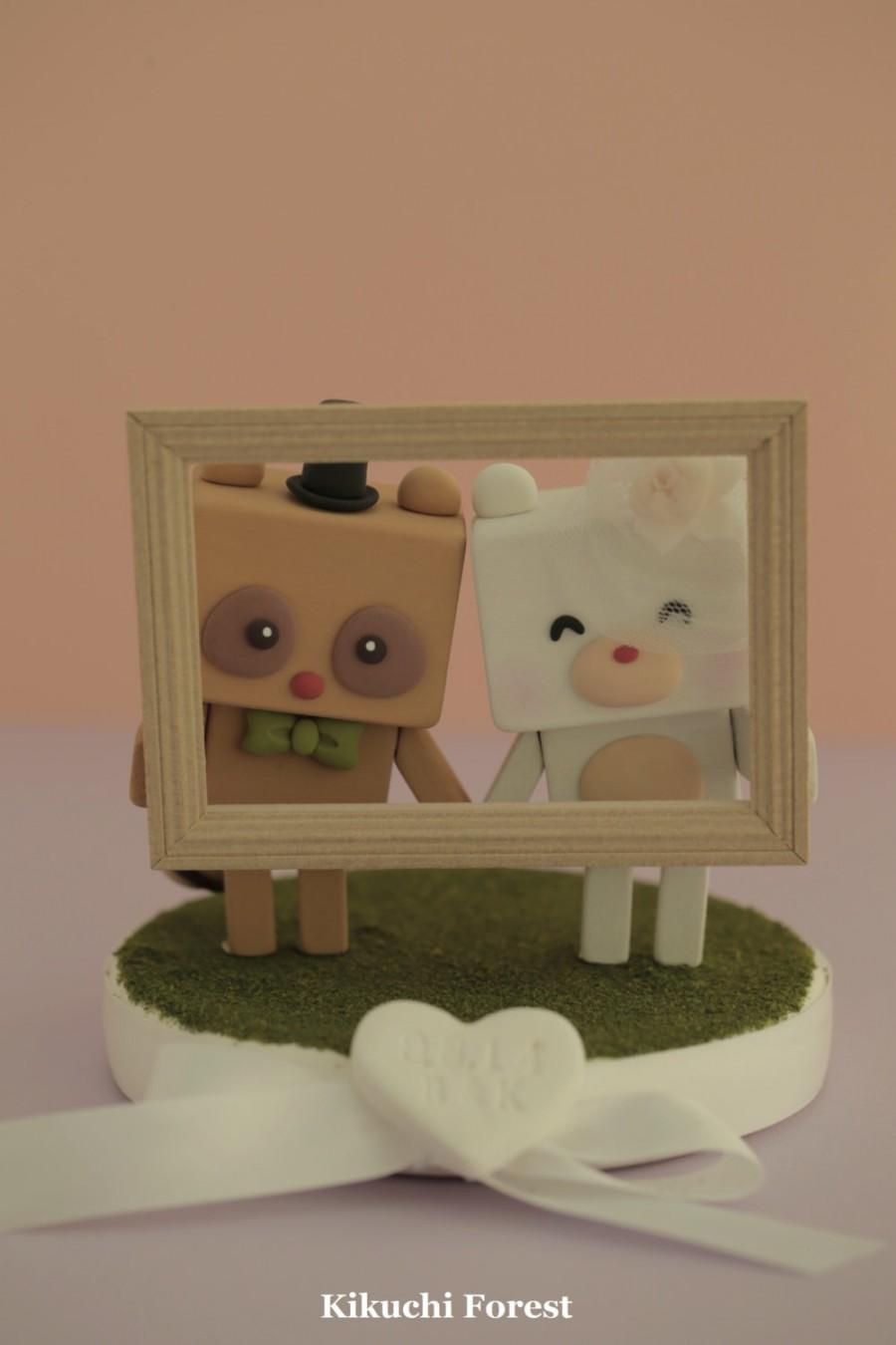 Mariage - raccoon and bear  wedding cake topper Handmade,Handcrafted wood  dolls
