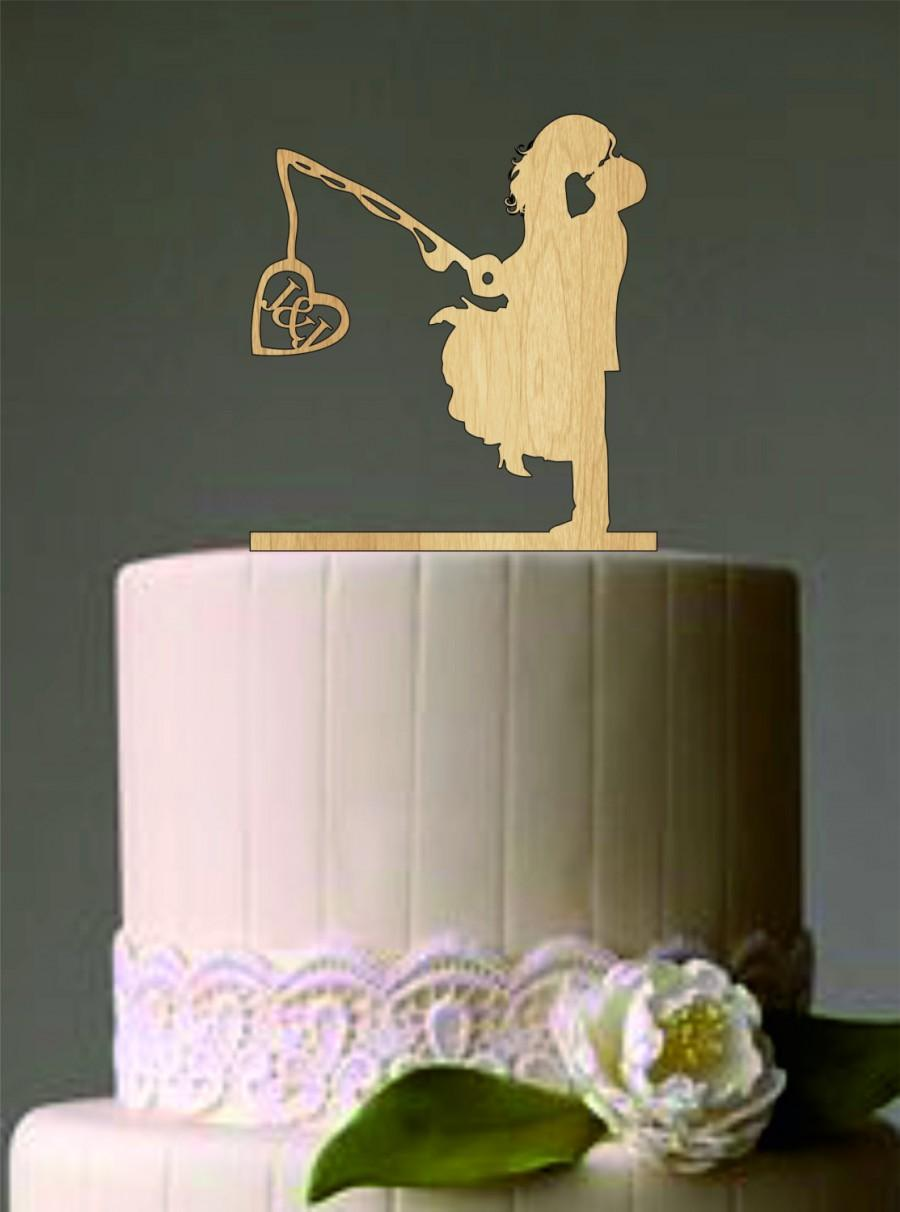 Unique wedding cake topper wedding couple fishing pole for Fishing cake toppers